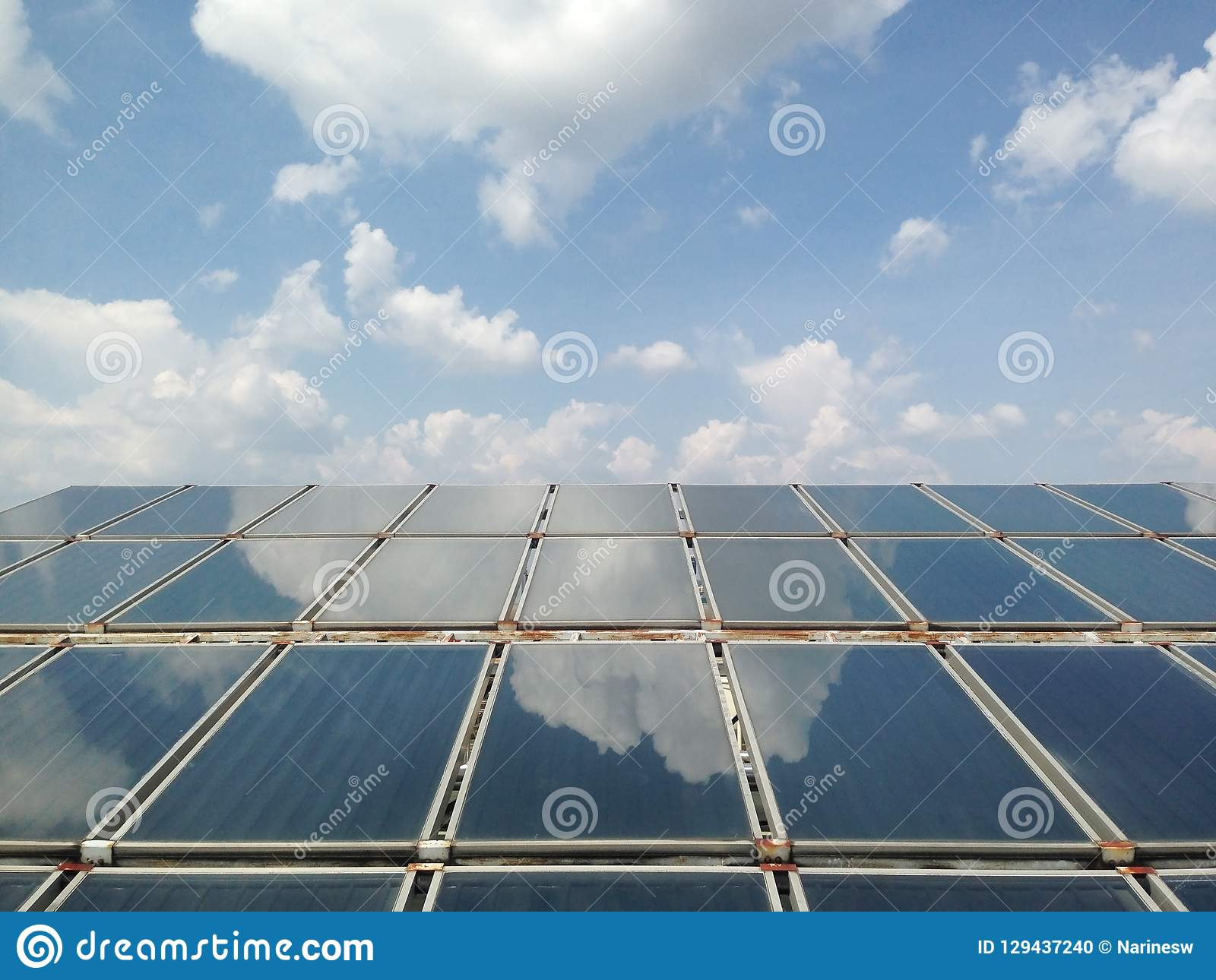 Solar heat panel on blue sky and cloud background. Solar heat panel for prepare hot
