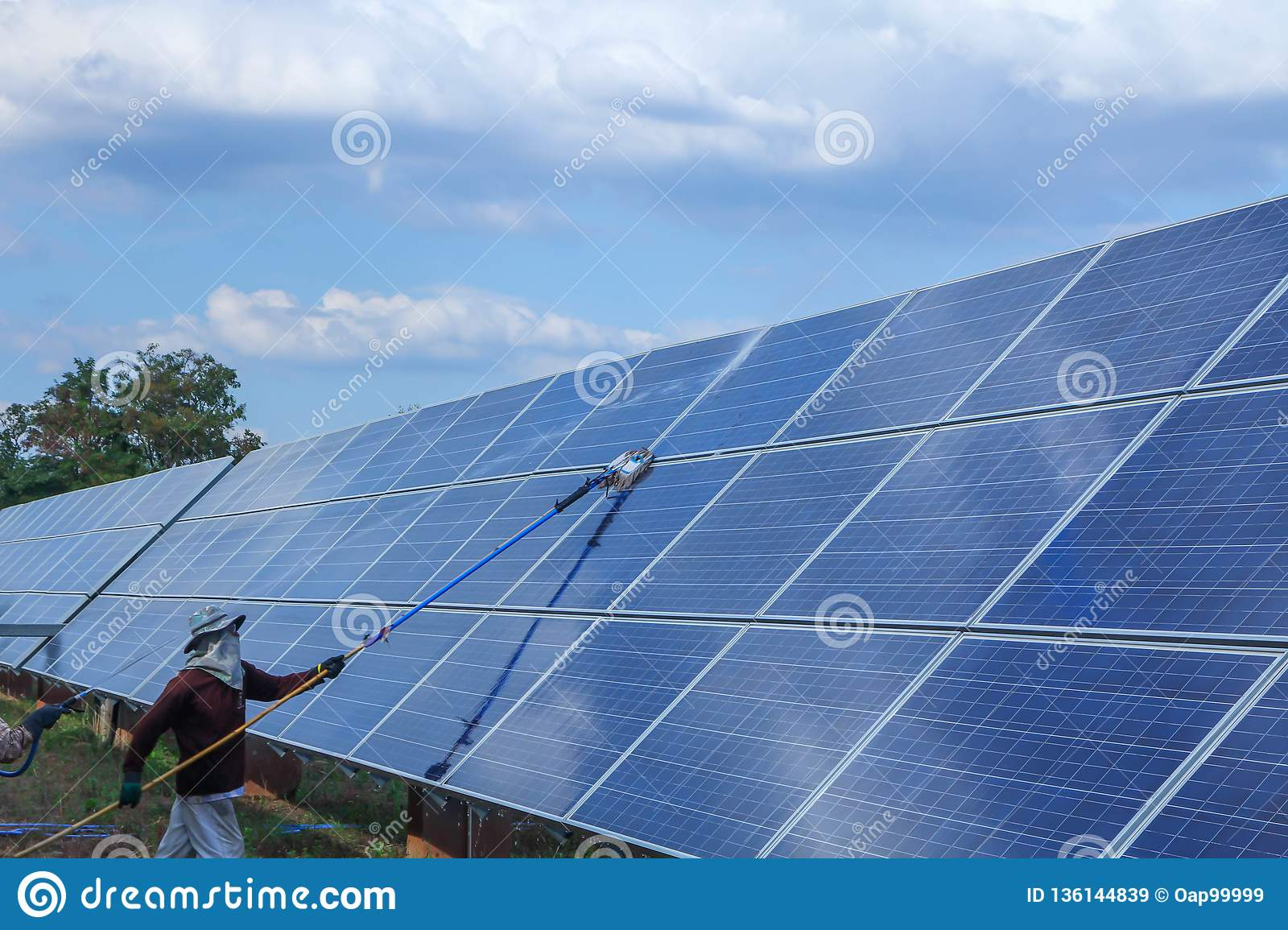 Solar panel, alternative electricity source - concept of sustainable resources, This`s the sun tracking systems, Cleaning will