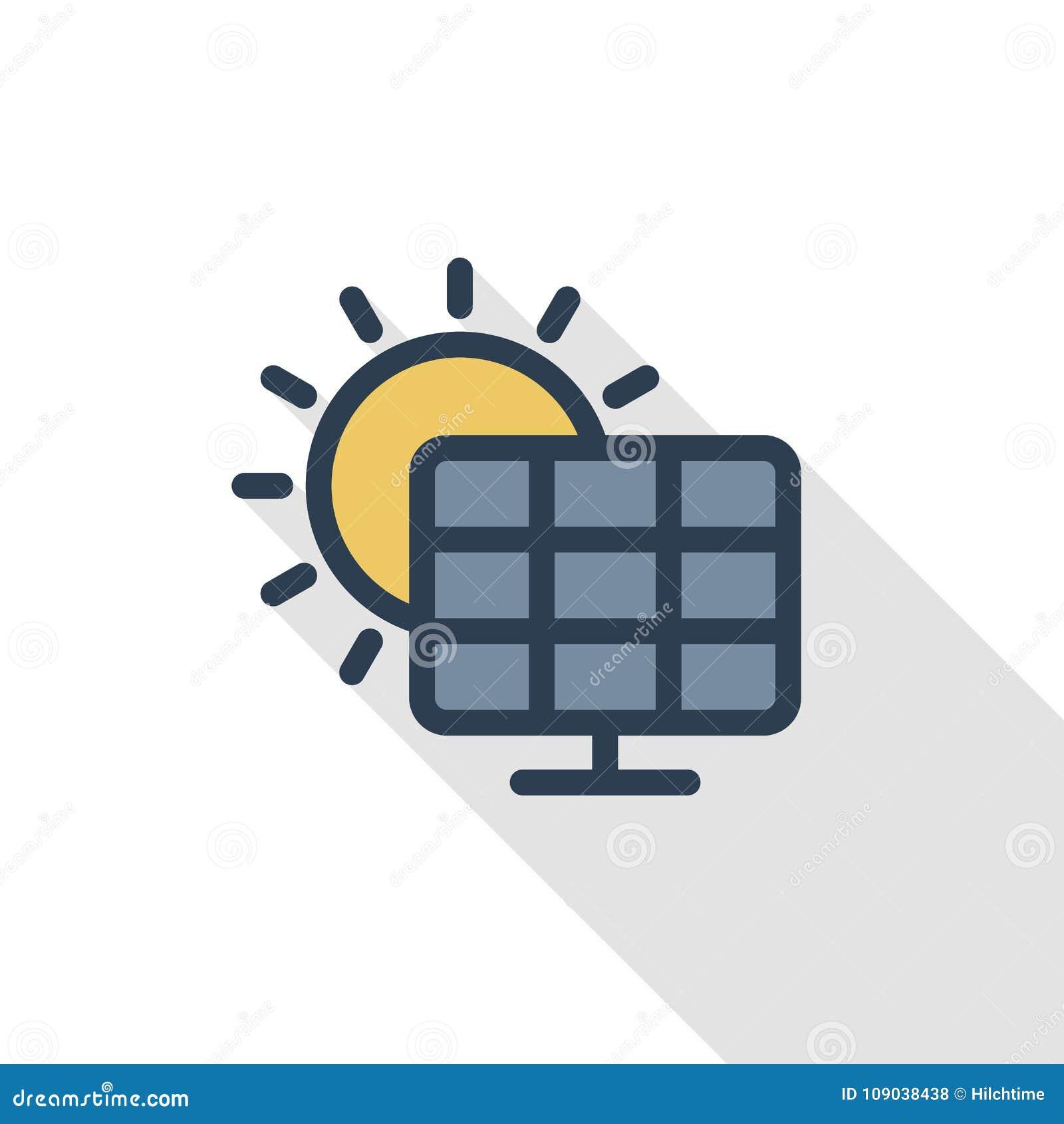 Solar Panel Alternative Sun Energy Thin Line Flat Color