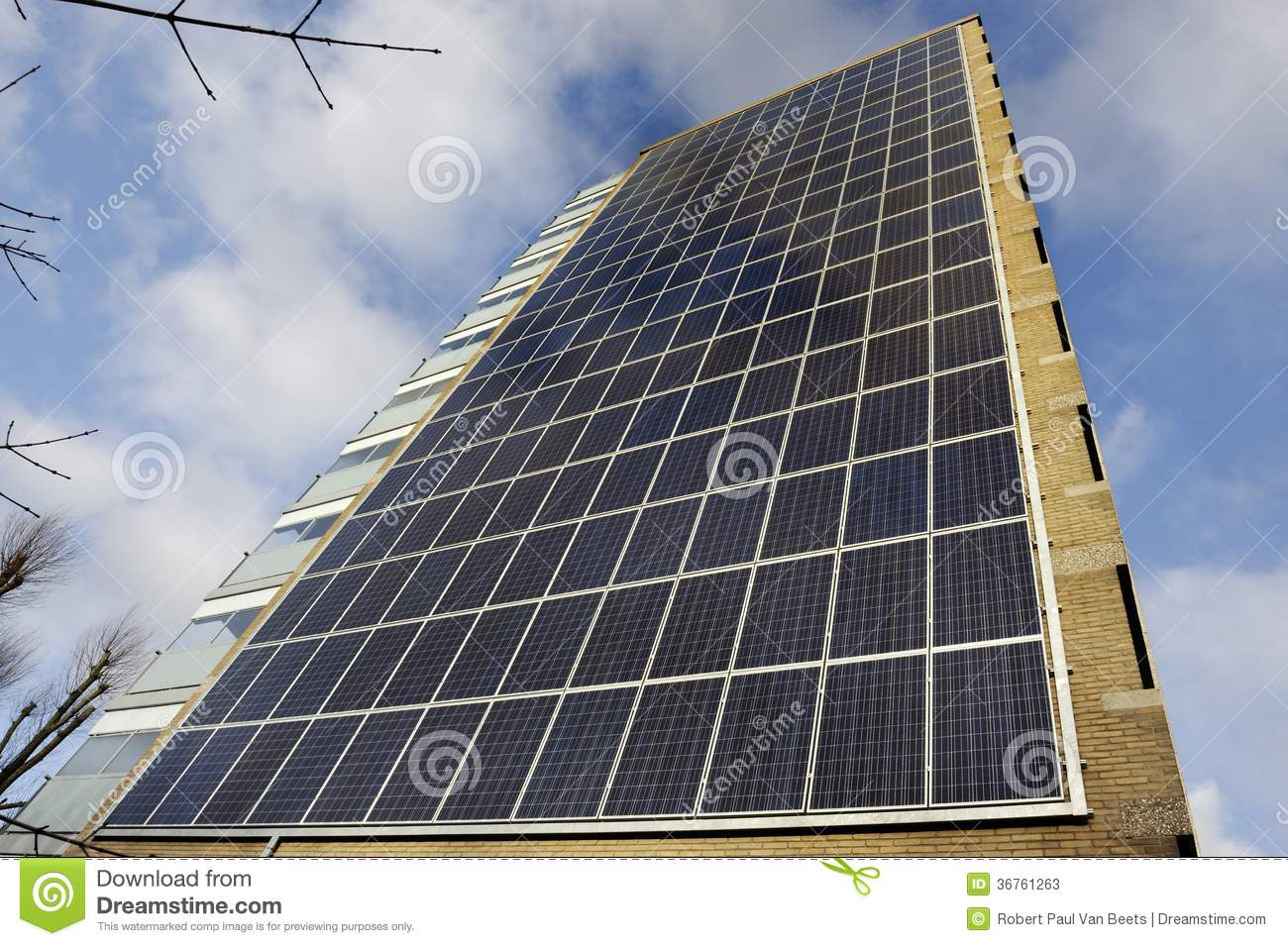 Building Solar Energy : Solar panel apartment building stock photos image