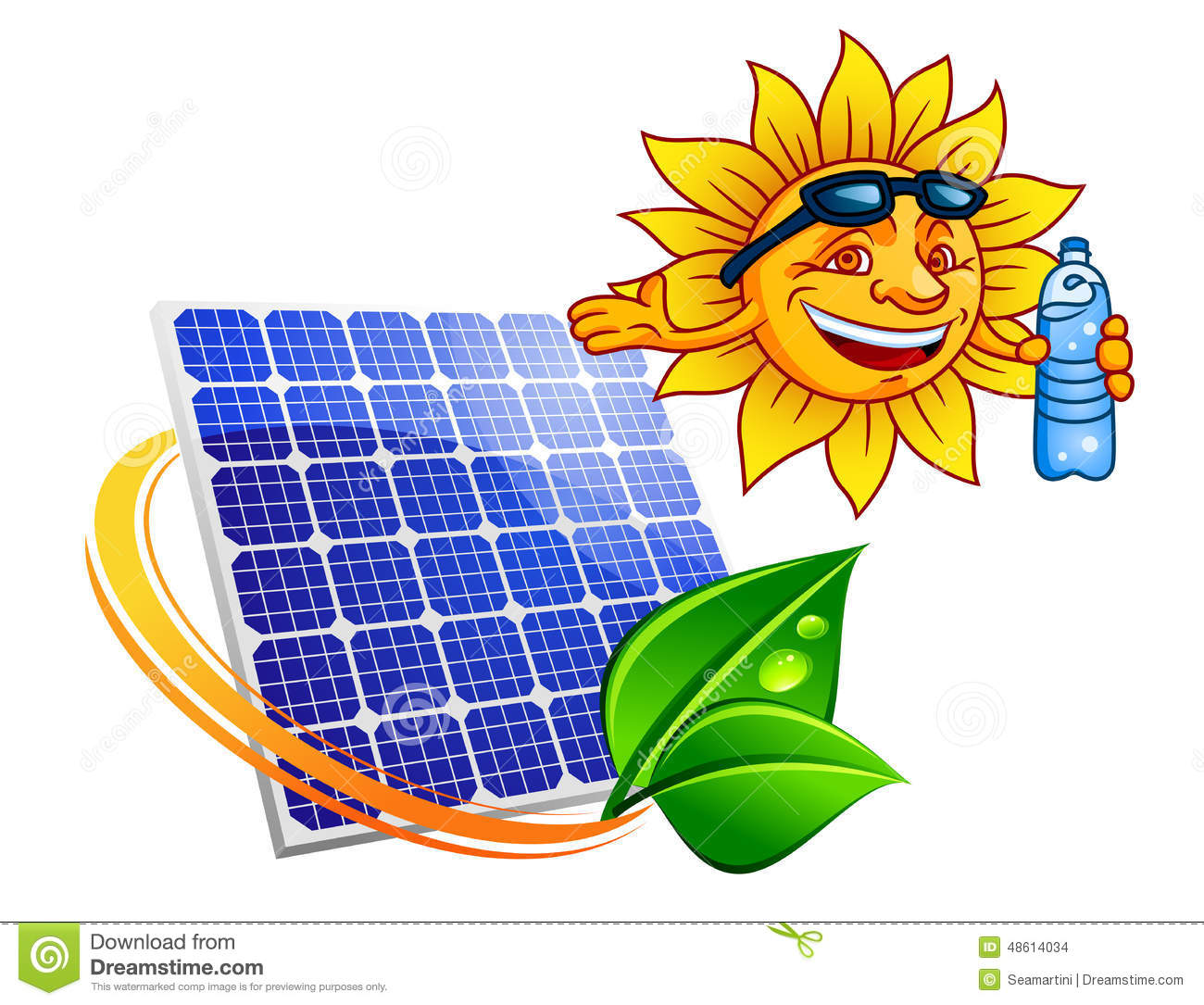 Blue solar energy panel surrounded by sun ray with green leaves above ...