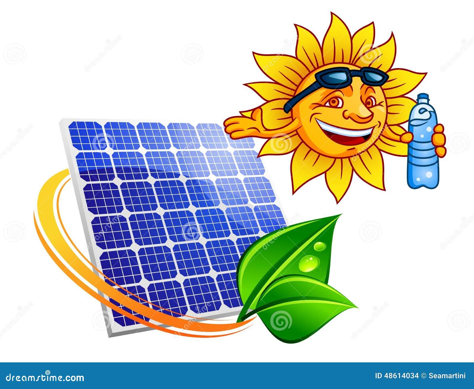 Solar Panel With Cartoon Sun Eco Stock Vector