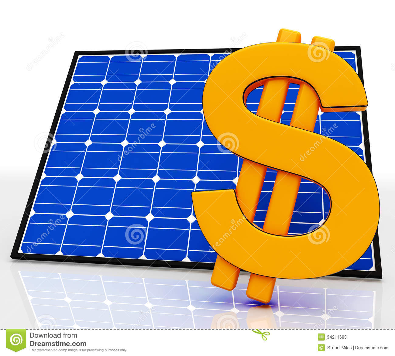 Solar Panel Yearly Savings: Solar Panel And Dollar Sign Shows Saving Energy Stock