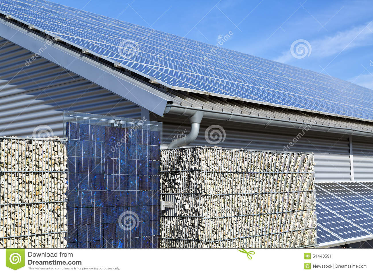 Solar Panel Electric System Roof And Fence Stock Photo
