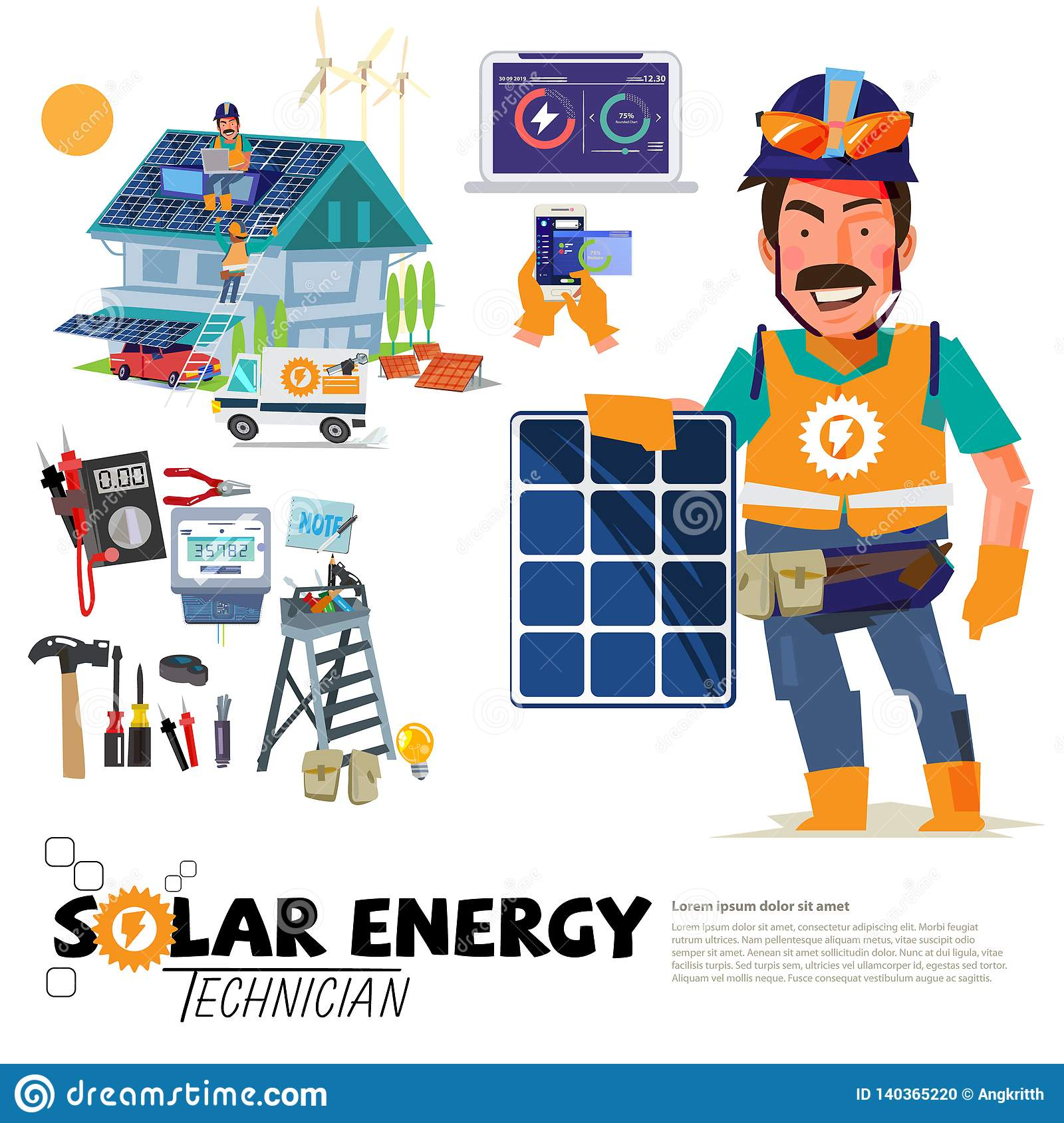 Solar Panel Engineer Character Design With Solar Enegy Tool Collection Vector Stock Illustration Illustration Of Electricity Character 140365220