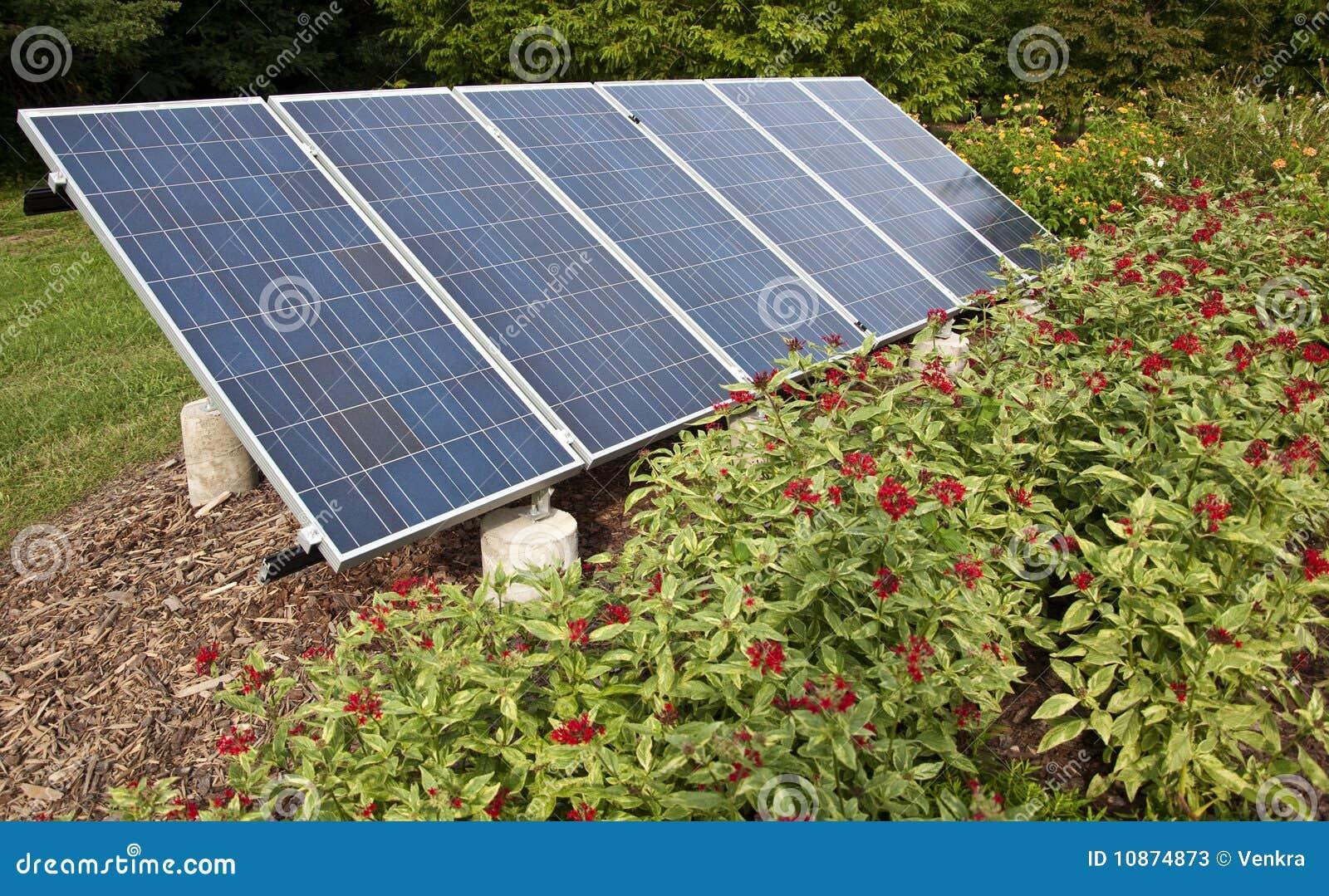 solar panel in a garden stock photos image 10874873