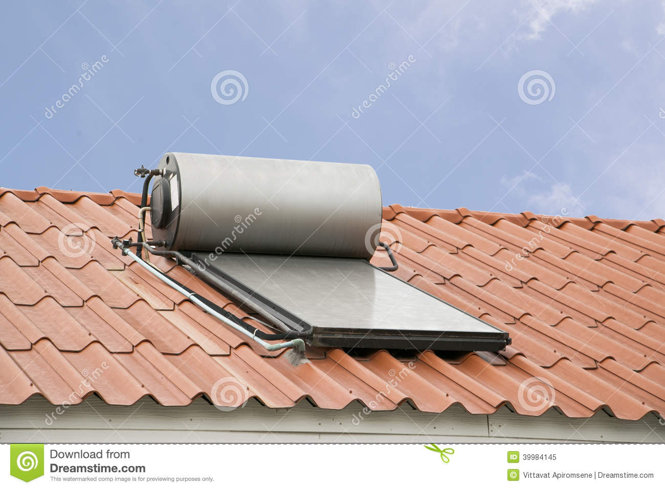 Solar Panel For Hot Water System On Roof Stock Photo