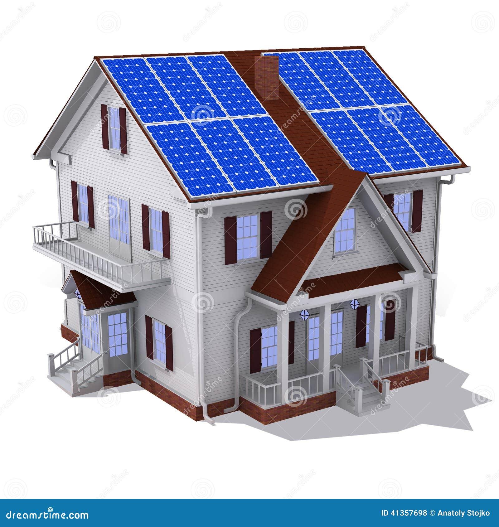 Solar House With Solar Panel Royalty-Free Cartoon