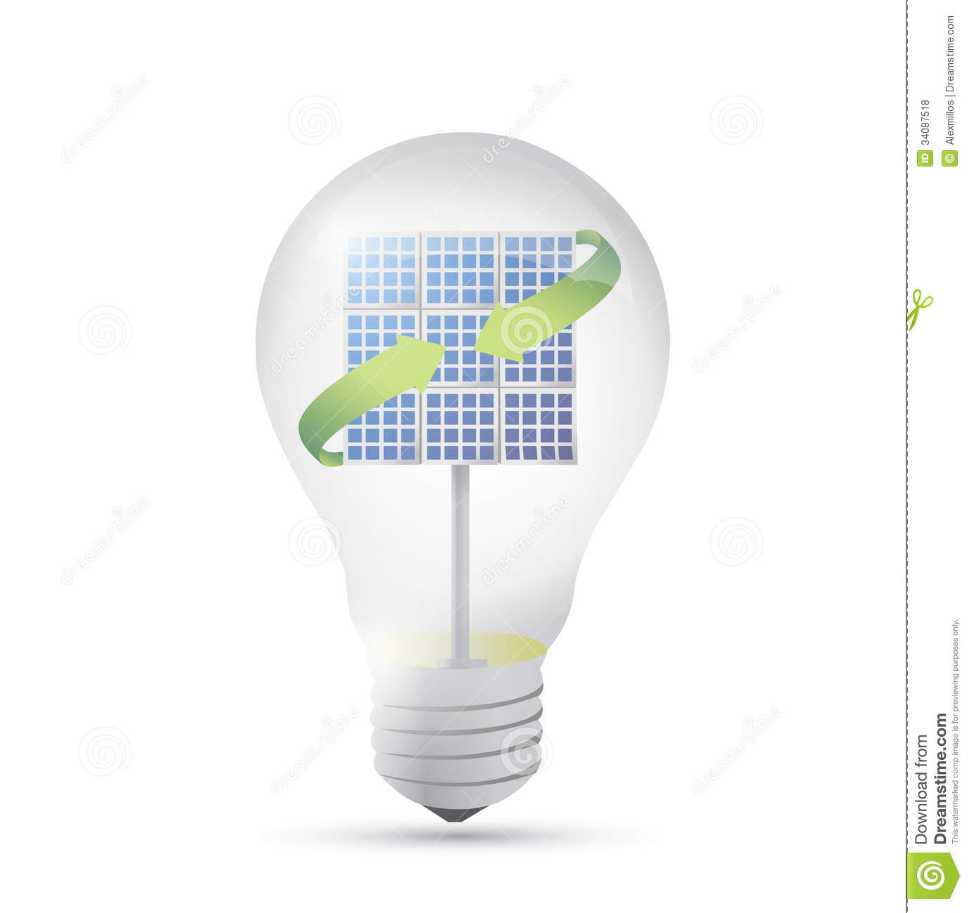 solar panel inside a idea electricity light bulb stock illustration illustration 34087518. Black Bedroom Furniture Sets. Home Design Ideas