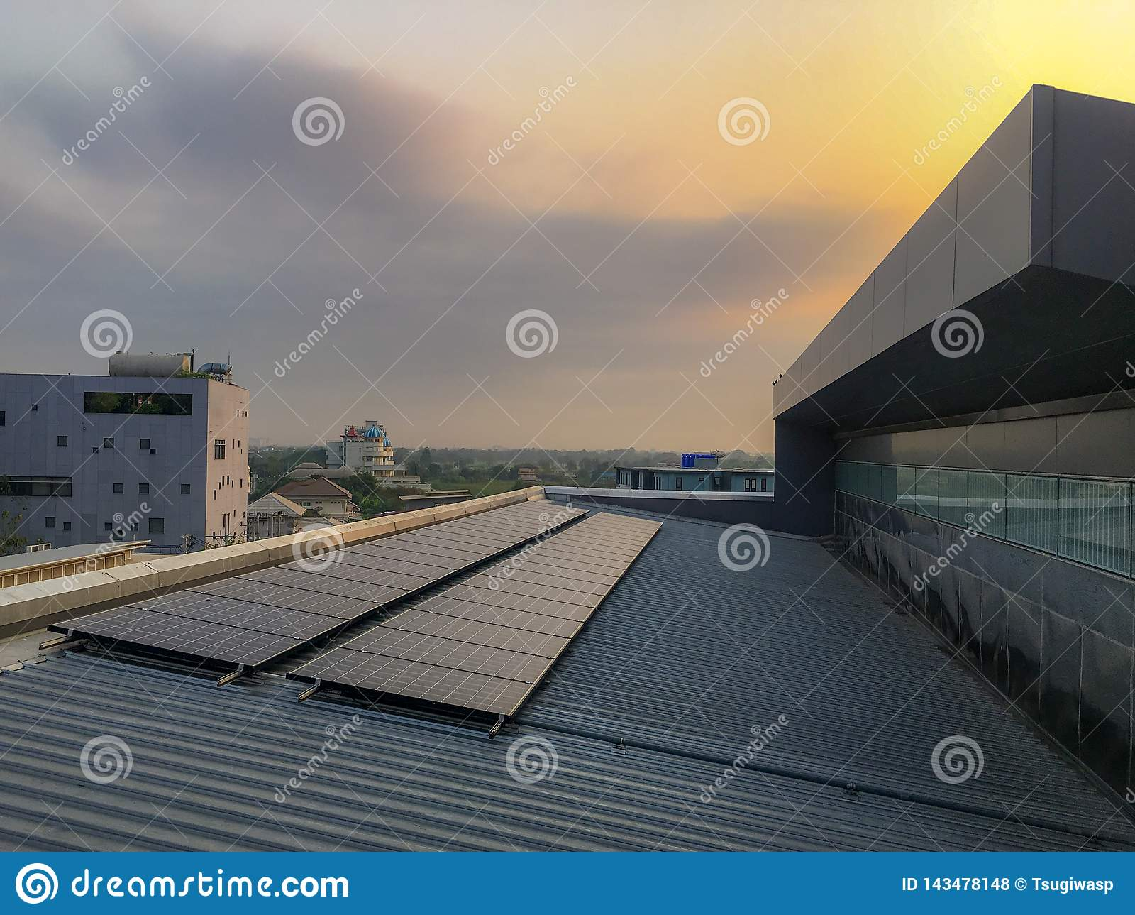 Solar panel install on the roof of the