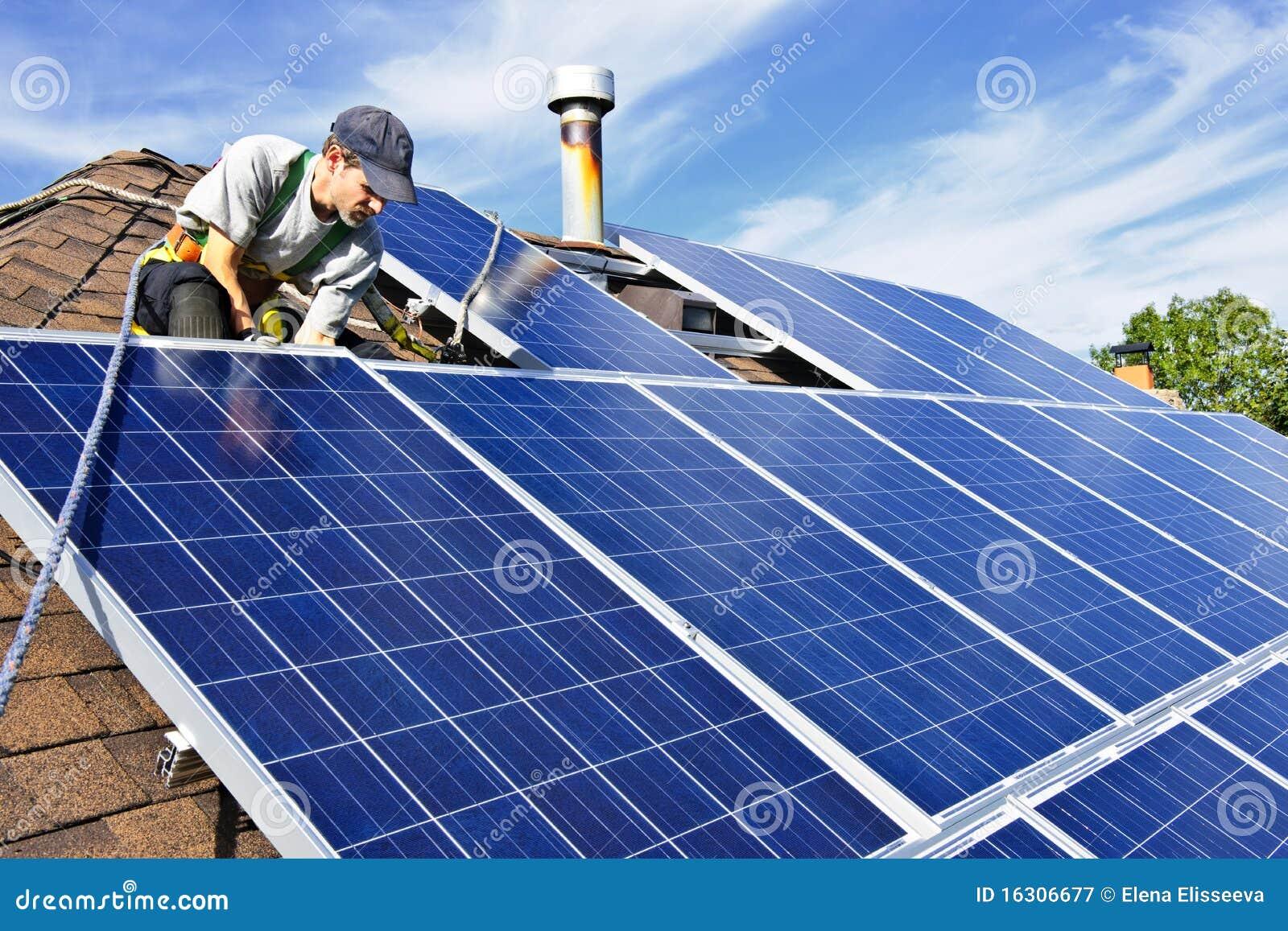 Solar Panel Installation Stock Image Image Of Install