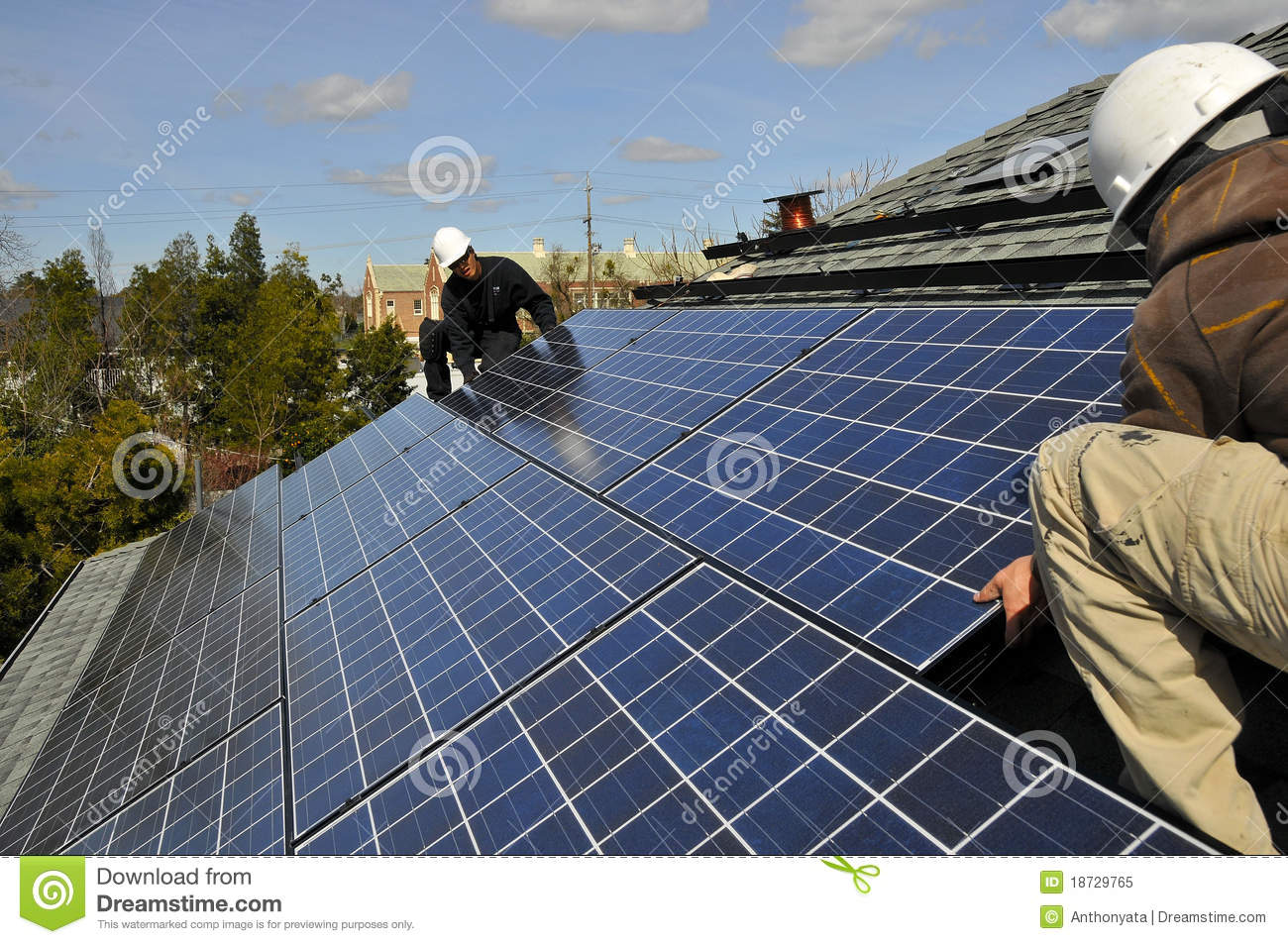 Solar Panel Installers Royalty Free Stock Photo - Image: 18729765