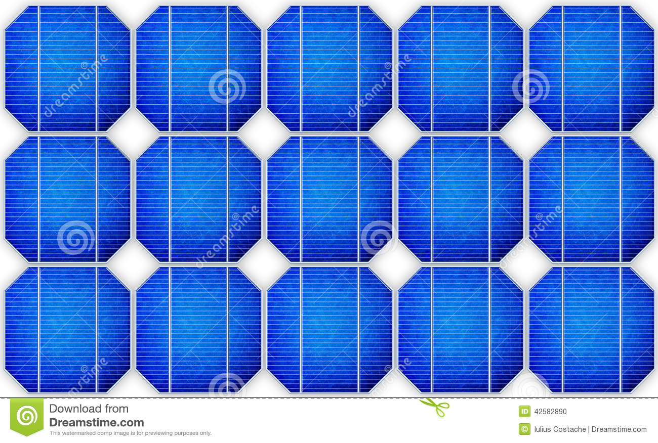 Mono Crystalline Solar Cell Against A Drawing Stock Photo