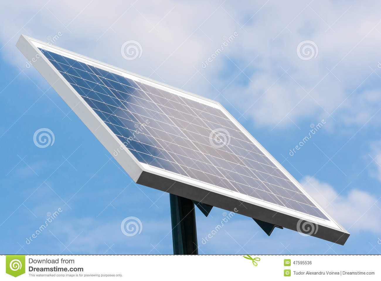 Solar panel mounted on a pole towards right with clouds reflecti