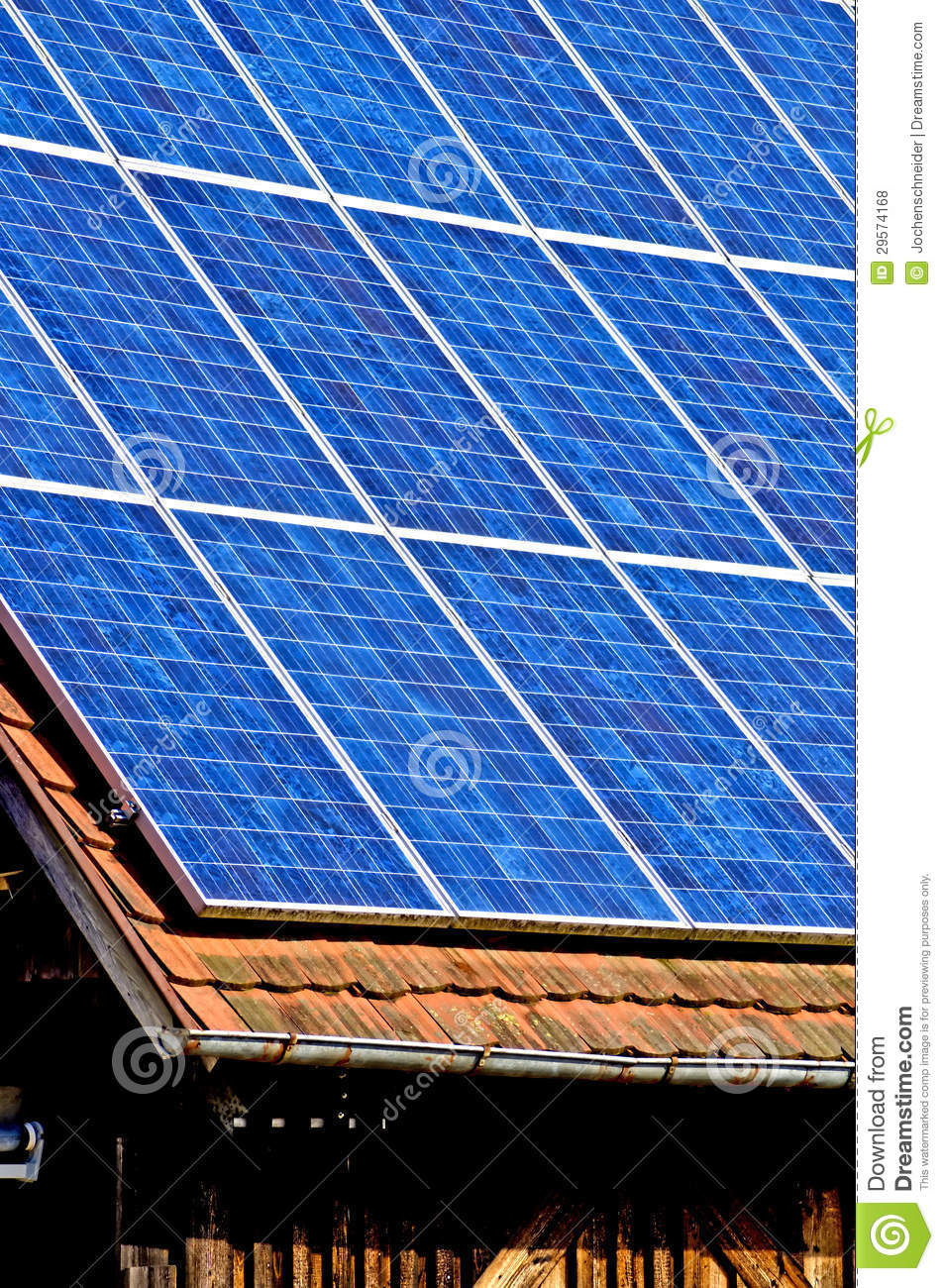 Solar Panel On Old Cabin Roof Royalty Free Stock Image