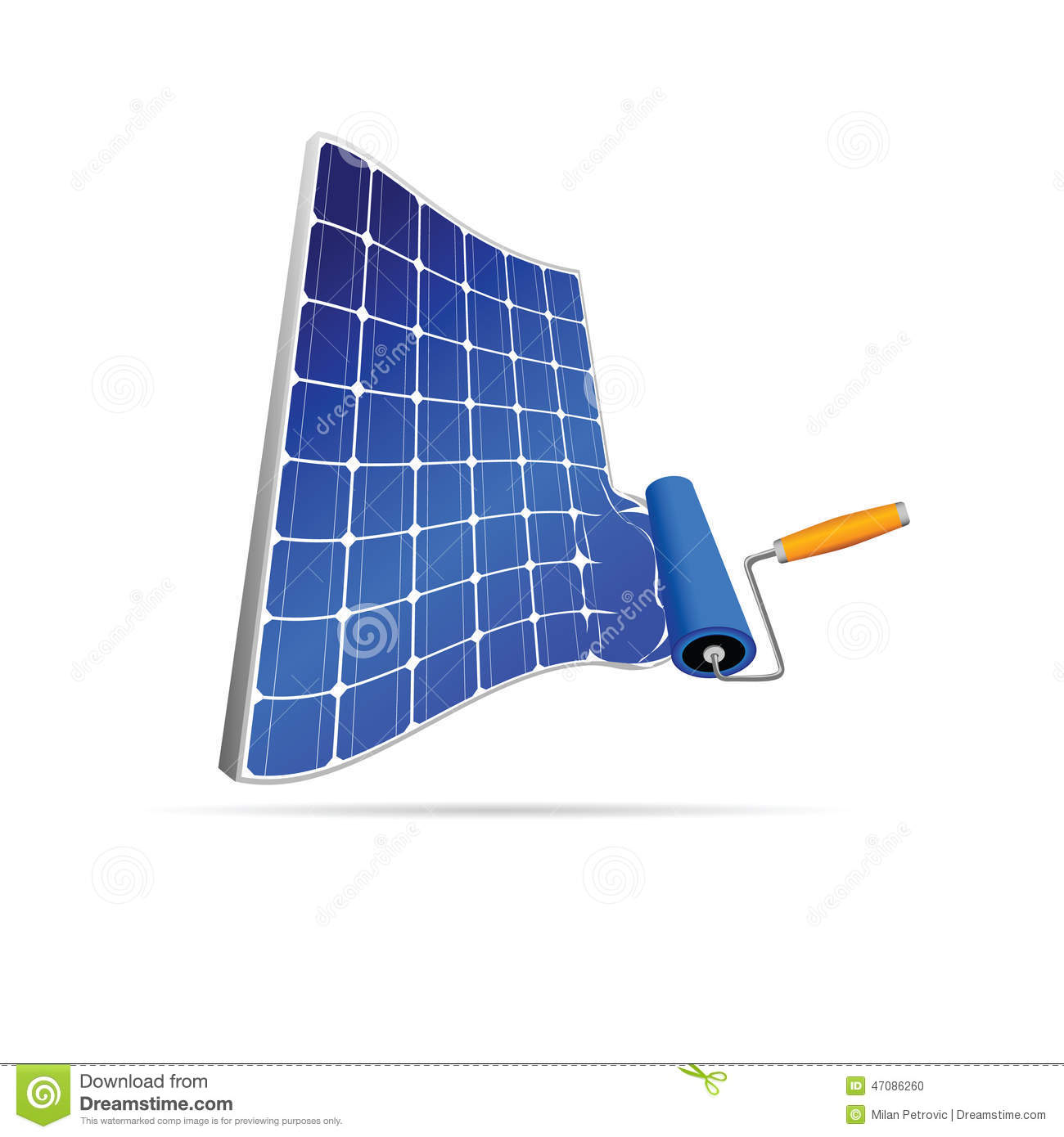 Solar Panel With Paint Roller Illustration Stock Vector