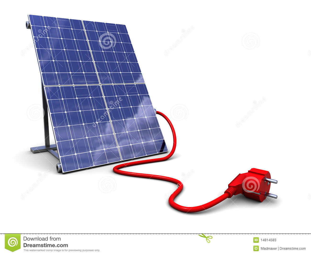 solar panel with power plug stock photos image 14814583. Black Bedroom Furniture Sets. Home Design Ideas