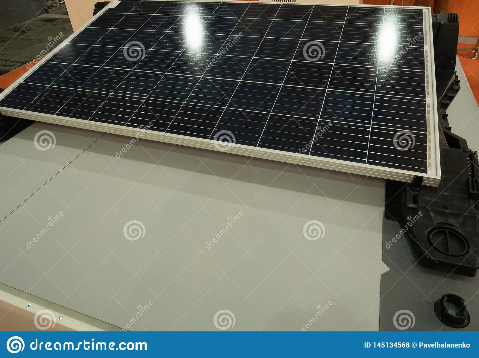 Solar panel showcase at diy hardware store. energy saving equipment for autonomous electricity generating and cost saving on