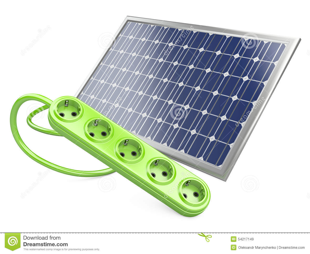 Solar panel with socket stock illustration illustration for Panneau solaire plug and play