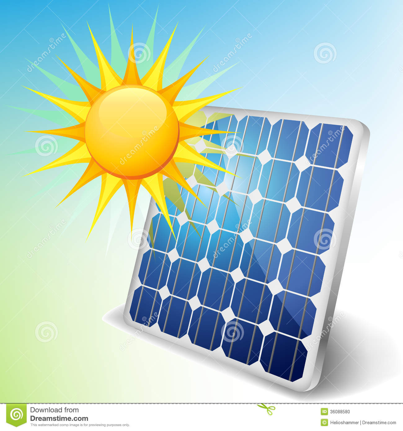Solar Panel With Sun Stock Vector Illustration Of