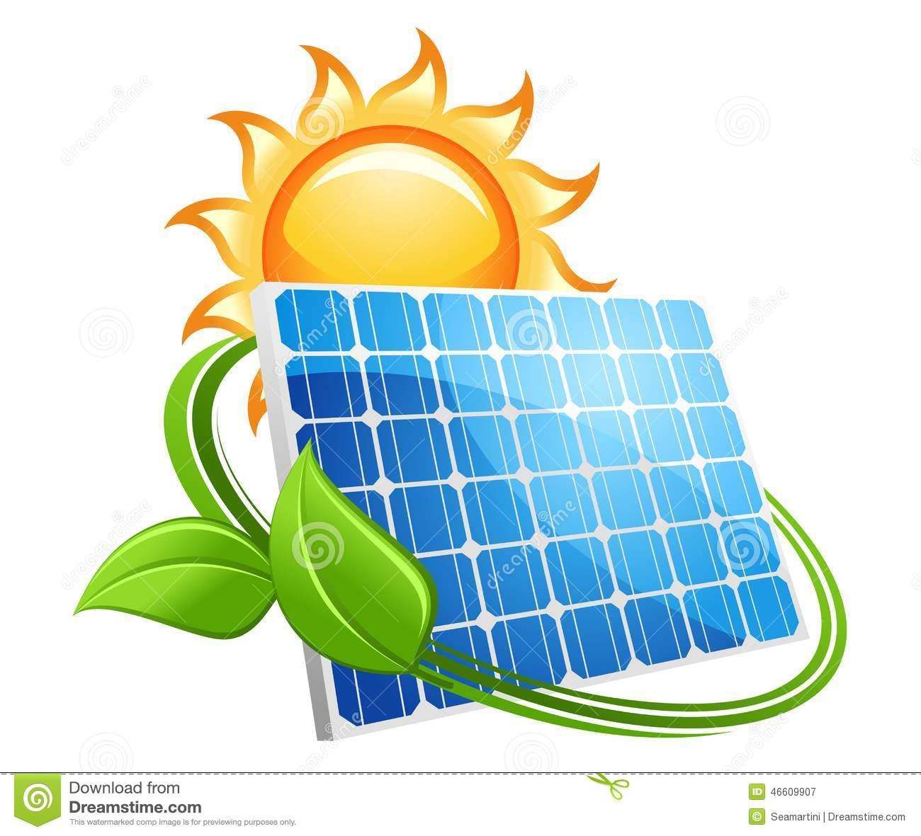 Solar Panel And Sun Icon Stock Vector Illustration Of