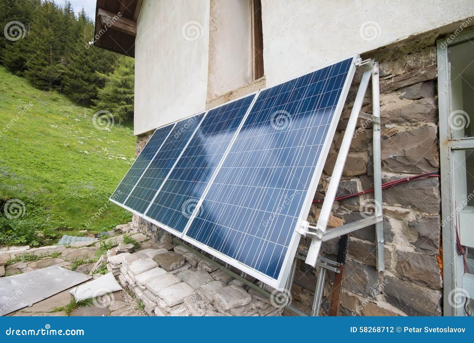 Solar panels on apline hut stock photo  Image of