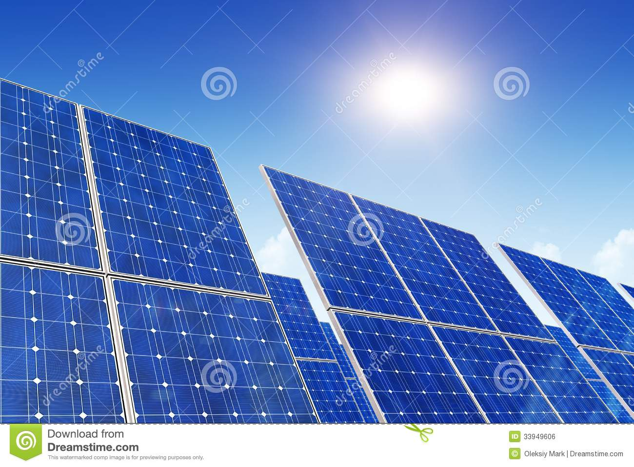 Solar Panels Blue Sky And Sun Royalty Free Stock Image Image 33949606