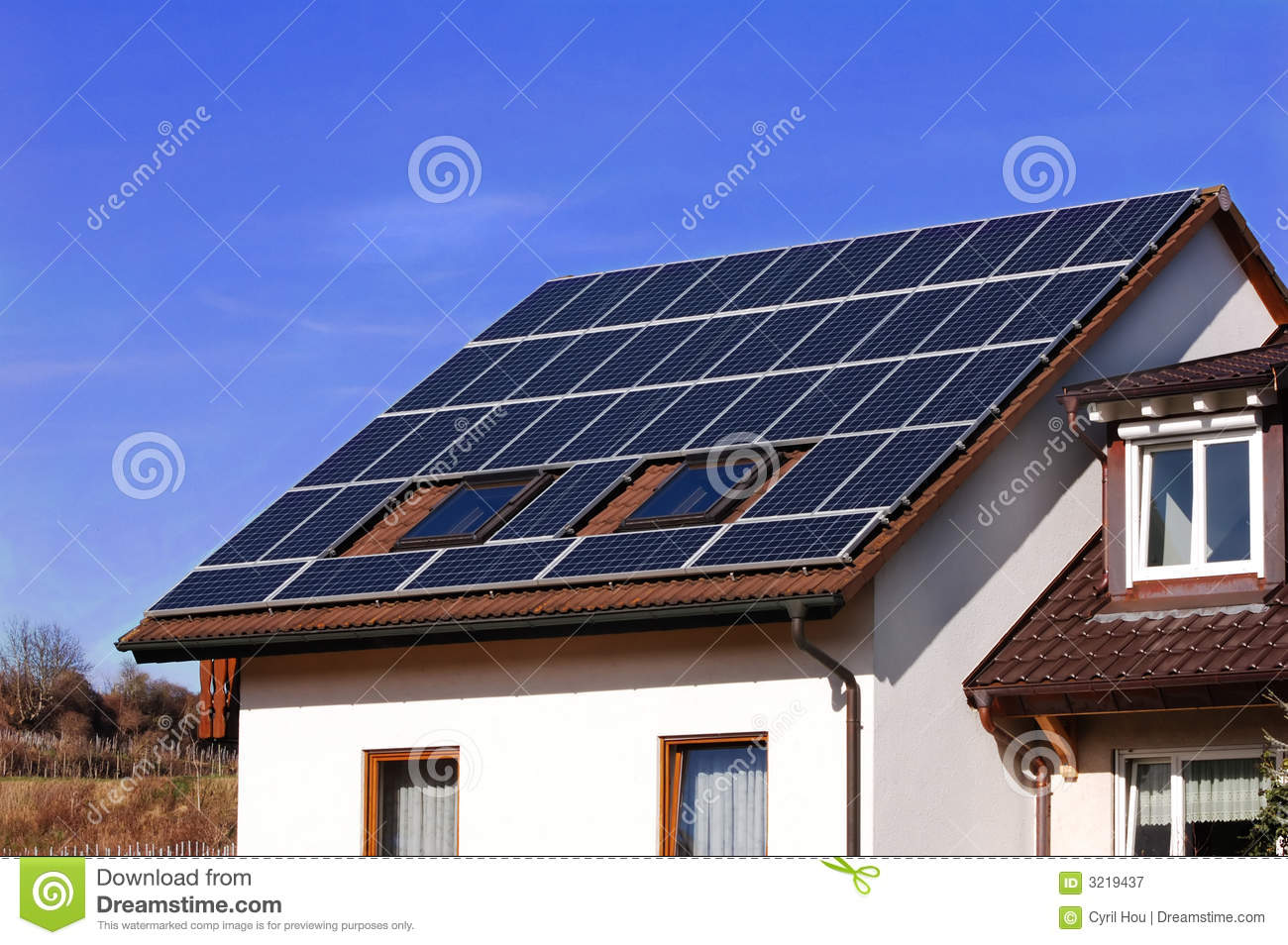 Solar Panel On Side Of Building : Solar panels on a country side royalty free stock