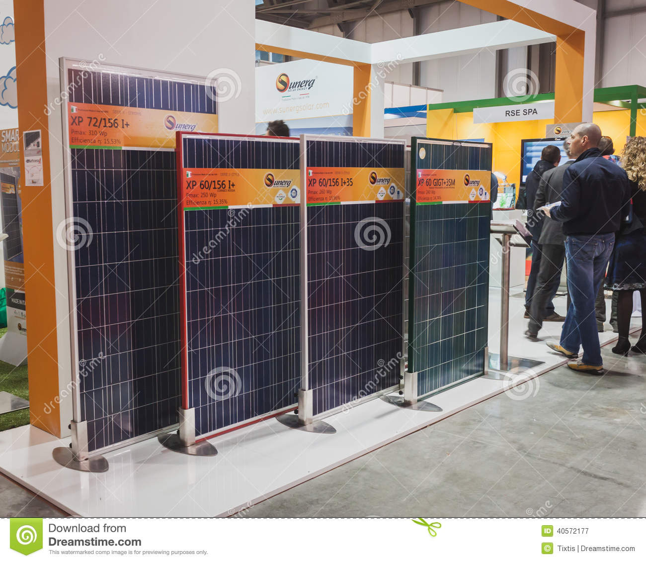 Solar Panels On Display At Solarexpo 2014 In Milan Italy
