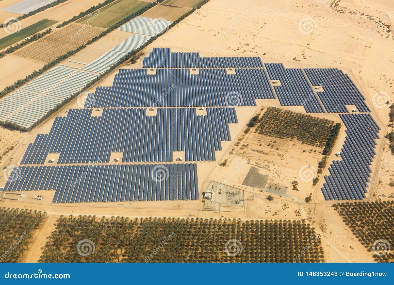 Solar Panels Farm Energy Panel Israel Desert From Above ...