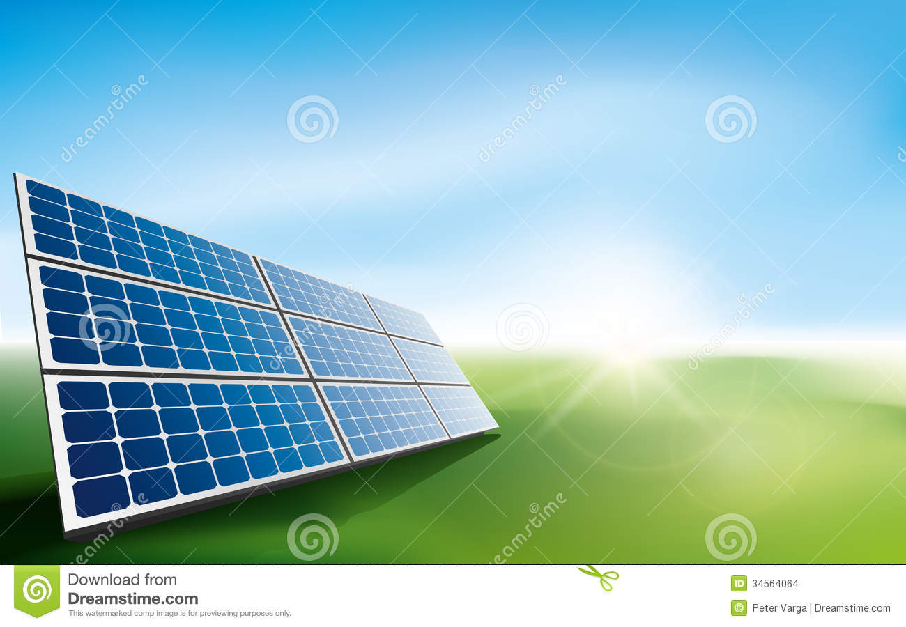 Solar Panels In A Field Of Grass Stock Images Image