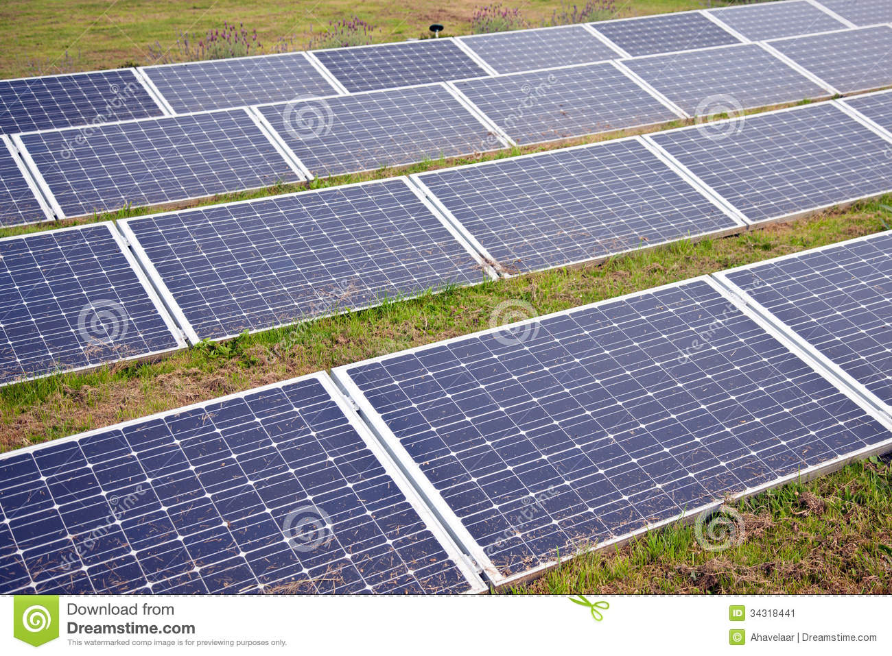 solar panels in the grass stock image image 34318441