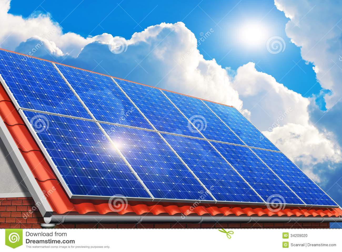 Solar Panels On House Roof Stock Photo Image 34209020