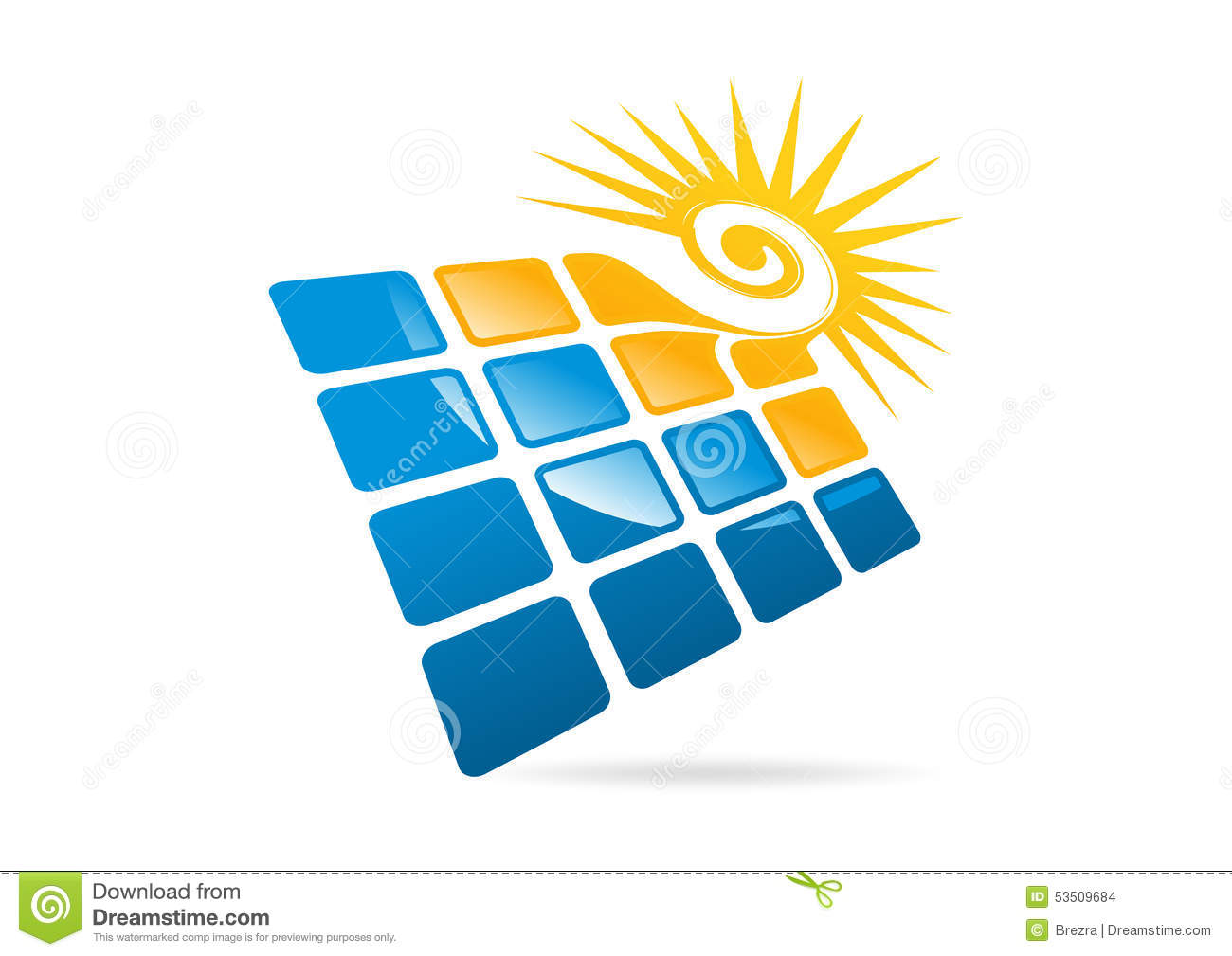 Stock Vector: Solar panels logo, swirl sun and square modern business ...