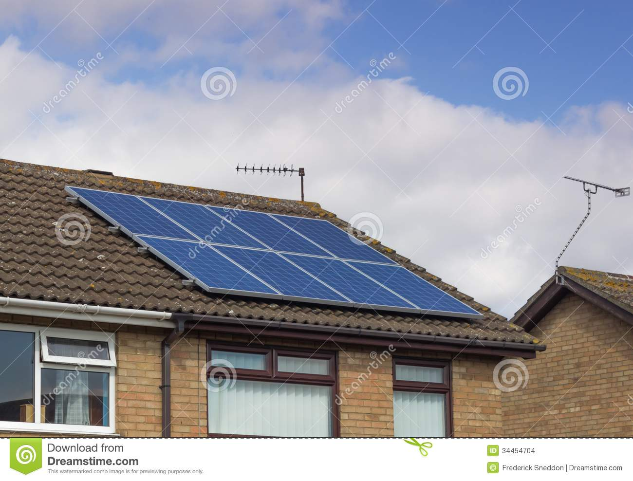 Solar Panels On Modern House Stock Photo Image Of Copy