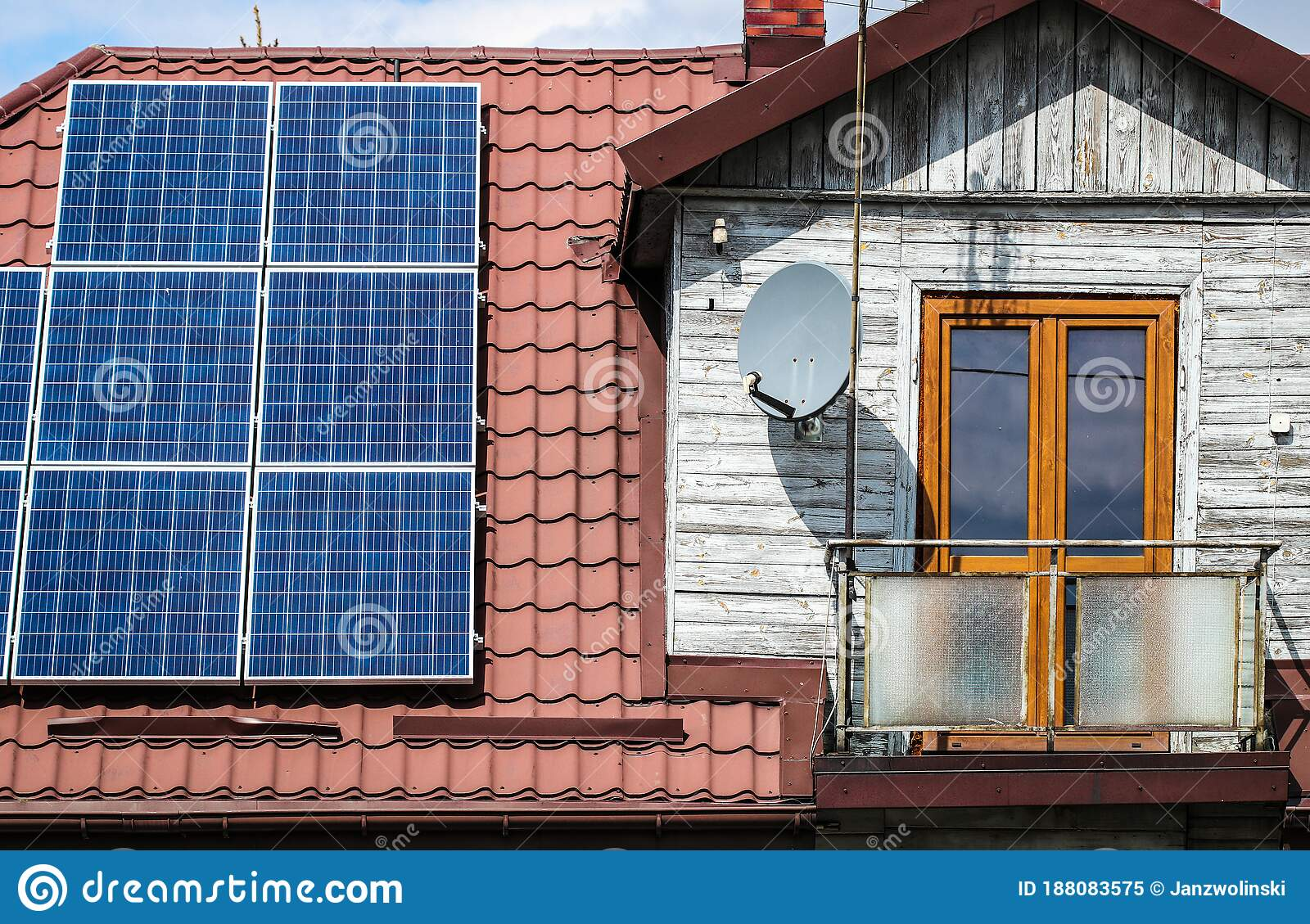 Solar Panels On Old Wooden House Stock Image - Image of outdoors,  architecture: 188083575