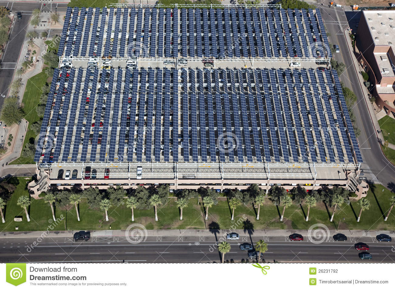 Solar Panels Over Parking Garage Stock Photo Image Of