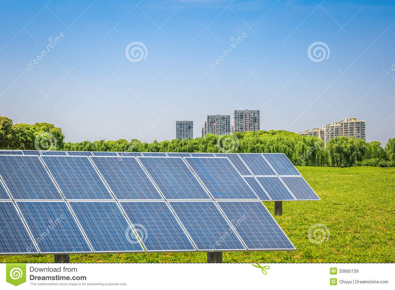 Solar panels in the park of modern city royalty free stock for Modern cleaning concept