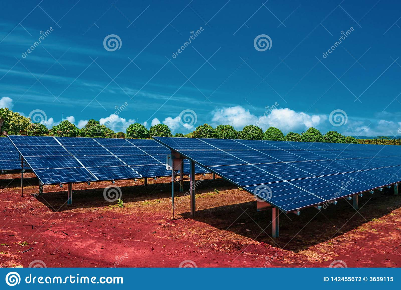 Solar panels, photovoltaics, alternative energy source, standing on the red ground with bright blue sky and green trees