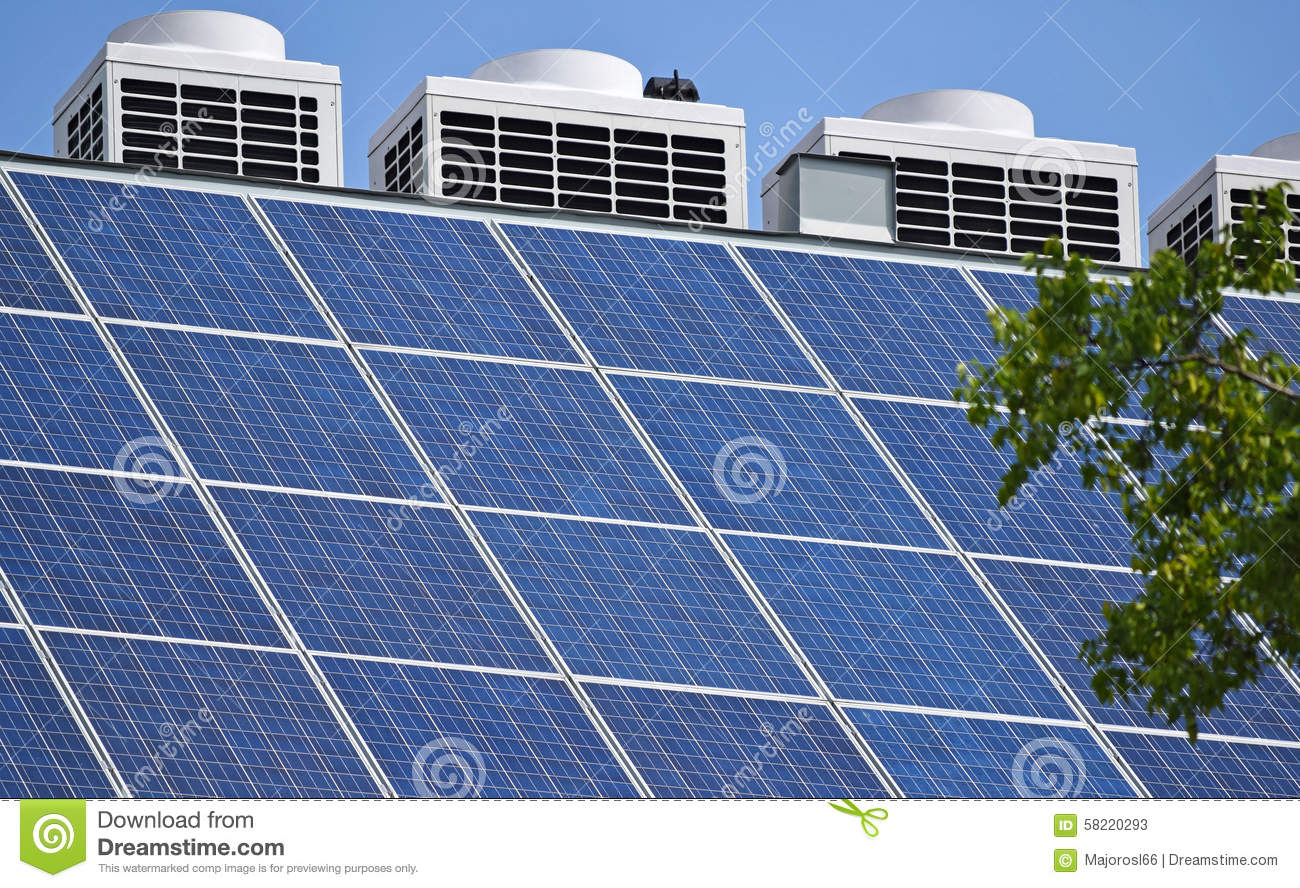 Solar Panel On Side Of Building : Solar panels on the roof stock photo image