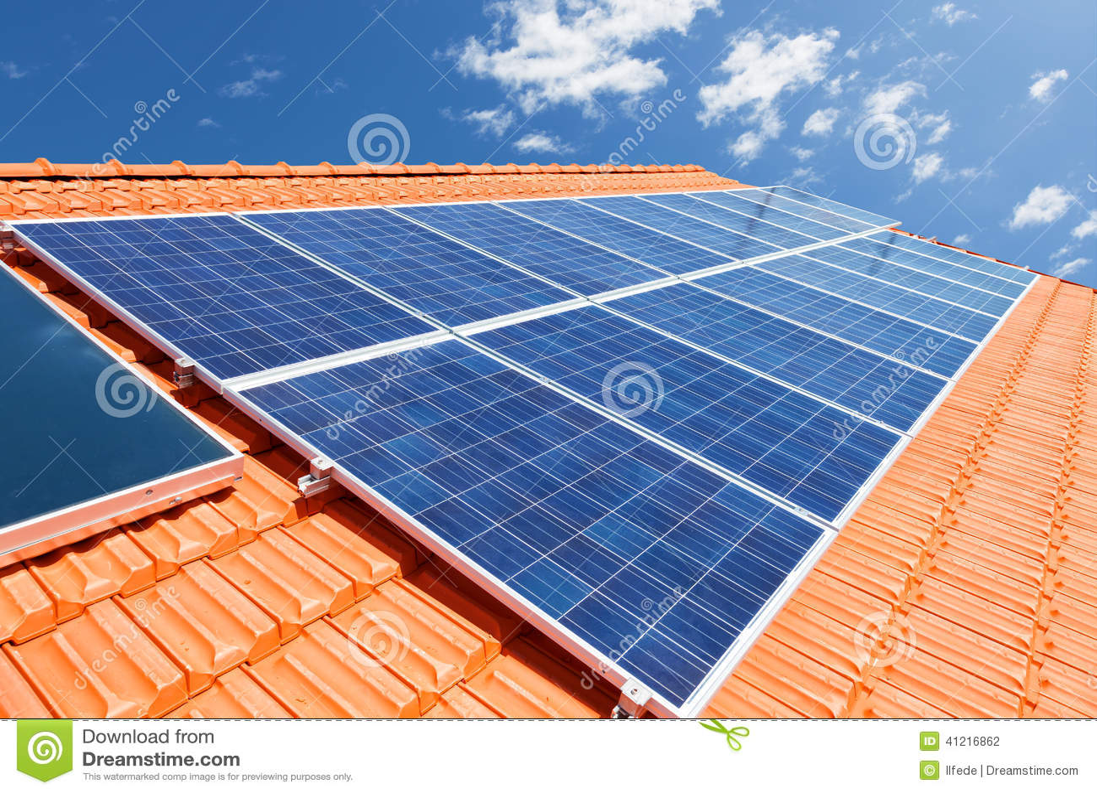 Solar Panels On Roof Stock Photo Image Of Blue Modern