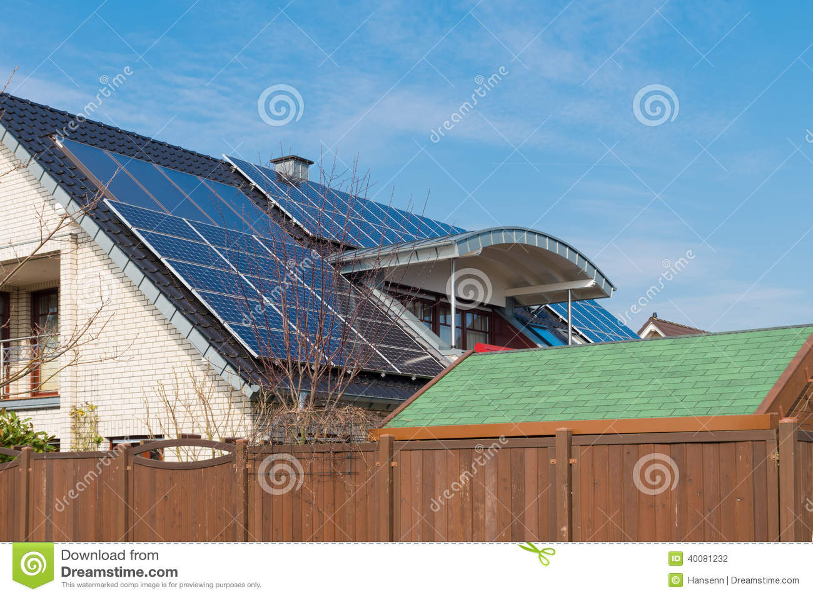 Solar Panels On Roof Stock Photo Image 40081232