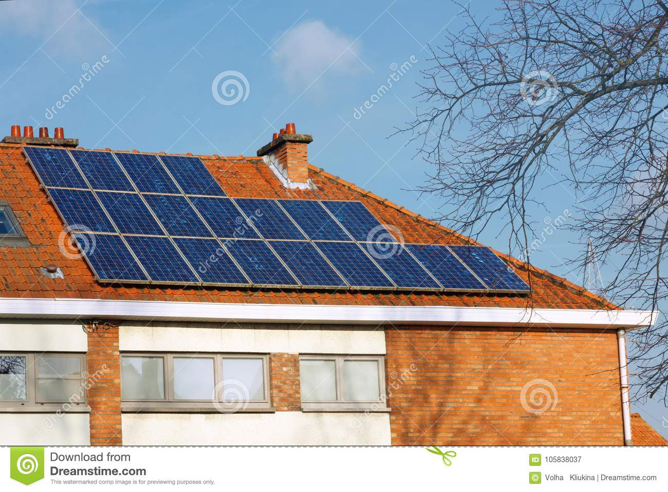 Solar Panels On A Tiled Roof Stock Image - Image of generator ...