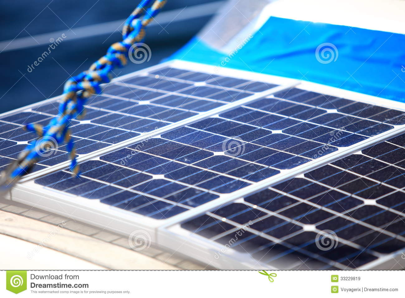 Solar Panels In Sailboat Renewable Eco Energy Stock Image