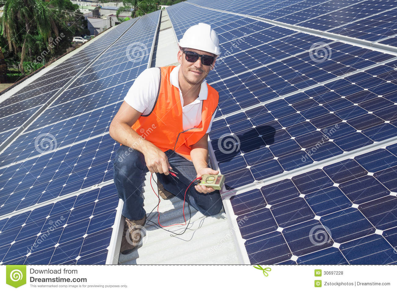 Solar Panels With Technician Stock Photo Image Of