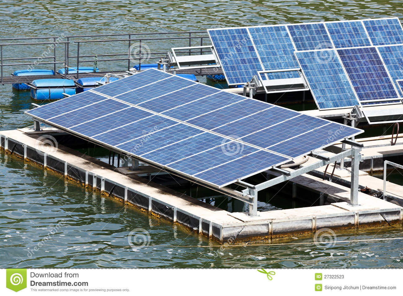 Solar Panels On The Water Stock Image Image Of Asian
