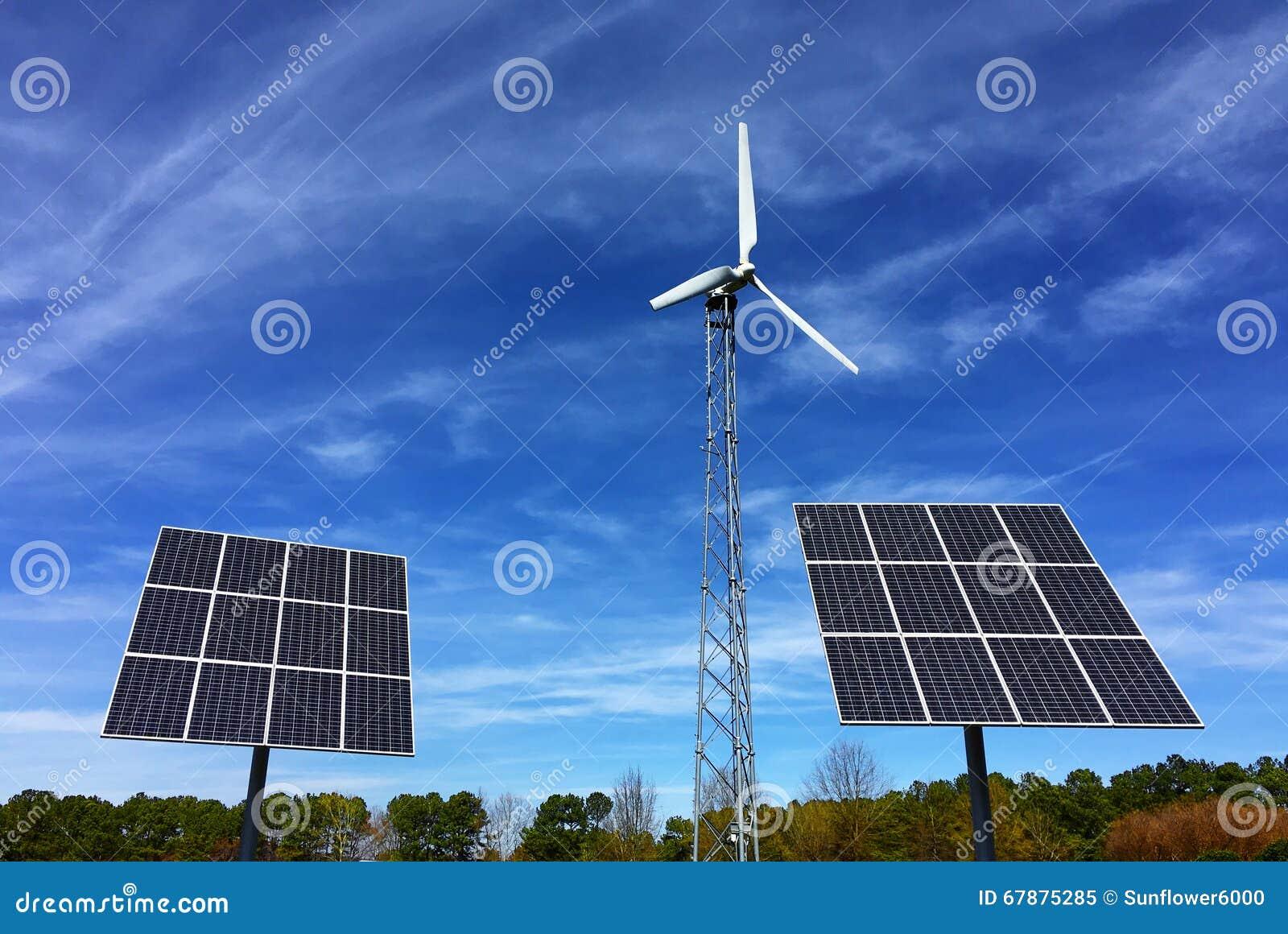 Solar panels and wind energy turbine power station