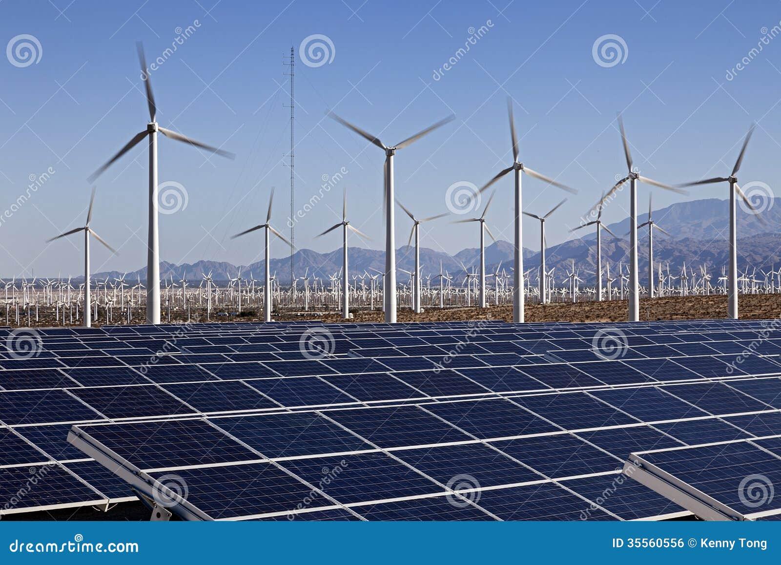 Solar Panels And Wind Turbine Power Royalty Free Stock Image - Image ...