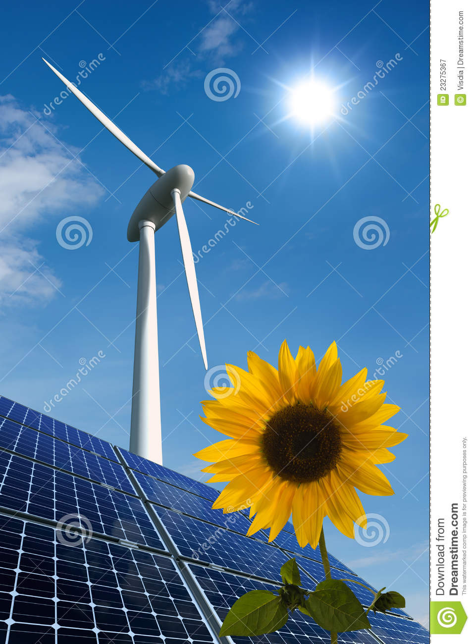 Solar Panels, Wind Turbine And Sunflower Royalty Free Stock ...