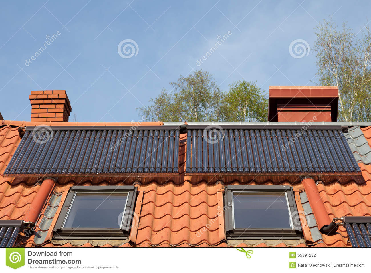 Solar pipes on roof